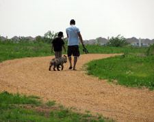 People Walking Their Dog on a Trail